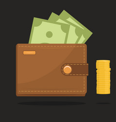 wallet full of money vector image