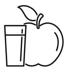 water glass fresh apple icon outline style vector image
