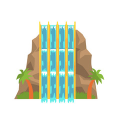 Water slides in the form of mountain aquapark vector