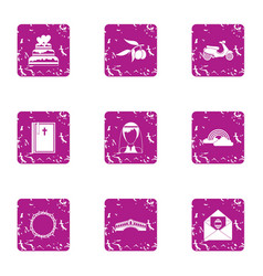 Wed icons set grunge style vector