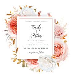 wedding invite card design blush fall rose flowers vector image