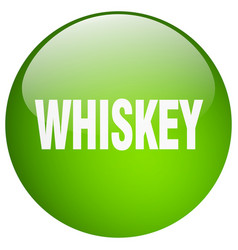 Whiskey green round gel isolated push button vector