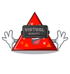With virtual reality triangel mascot cartoon style vector