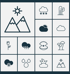 World icons set collection of cloud raindrop vector