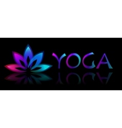 Yoga lotus logo on black background vector image