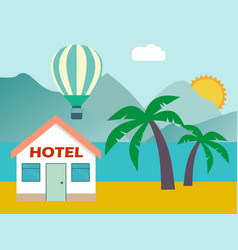 beach house hotel flat scene with house sea vector image vector image