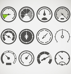 Different slyles of speedometers collection vector image