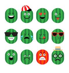 emojis watermelon fruit summer set of vector image vector image
