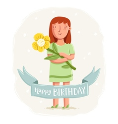 Happy birthday card with a girl holding a flower vector image vector image