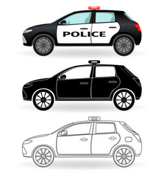 Police car colored black silhouette outline vector