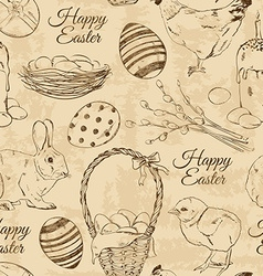 Retro seamless pattern of Easter symbols vector image
