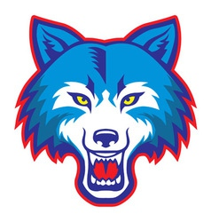 angry wolf head mascot vector image vector image