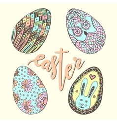 Cute easter eggs Doodle hand drawn set Happy vector image
