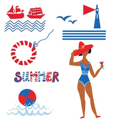 Sea and beach set funny icons vector image