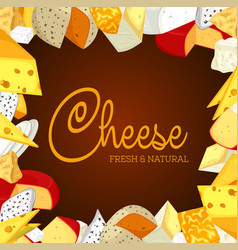sign or banner with sliced porous cheese vector image