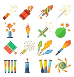 Pyrotechnics and fireworks set vector image