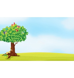 a tree and birds vector image