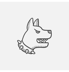 Aggressive police dog sketch icon vector image