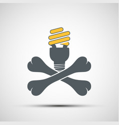 Cross bones with energy saving lamp environmental vector