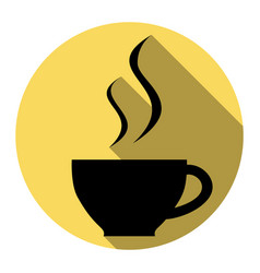 cup of coffee sign flat black icon with vector image