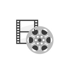 icon of film strip and reel in flat style vector image