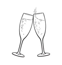 Pair of champagne glasses holiday toast vector image vector image