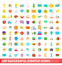 100 successful startup icons set cartoon style vector