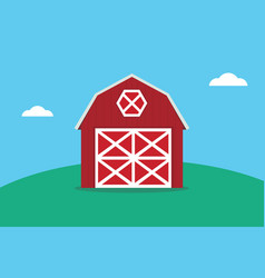 a flat red barn on the top of green land mountain vector image