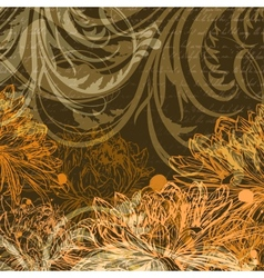 Autumn handdrawn background with chrysanthemum vector