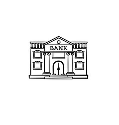 Bank hand drawn outline doodle icon vector