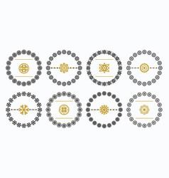 Black and golden circle floral emblem set - set 2 vector