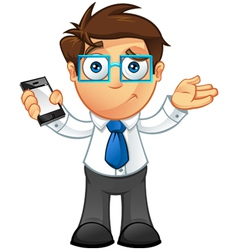 Business Man Unsure With Mobile vector image