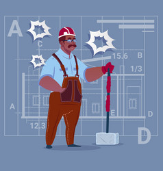 cartoon african american builder holding big vector image
