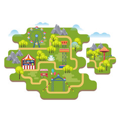 Cartoon amusement park map background vector