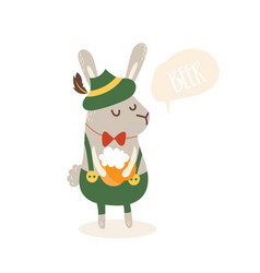 Cartoon funny rabbit with beer and germany costume vector