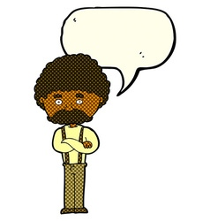 Cartoon old man with speech bubble vector
