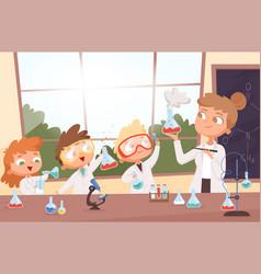 chemistry lesson little science kids boys vector image