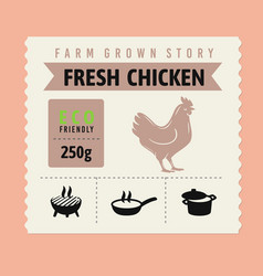 chicken meat label with icon and text vector image