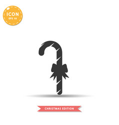Christmas candy cane icon simple flat style vector