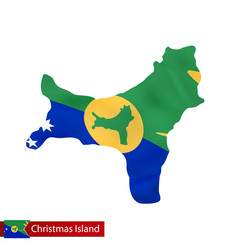 Christmas island map with waving flag country vector