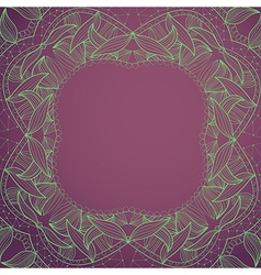 Circle lace hand-drawn ornament frame card vector