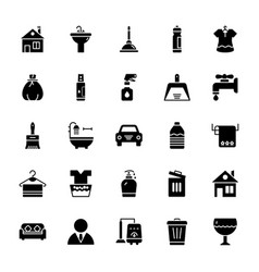 Cleaning solid icons 1 vector