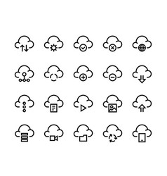 cloud computing line icons internet service vector image