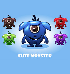 collection cute cartoon bamonsters vector image