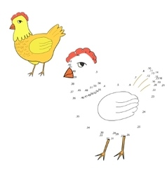 Connect dots game hen chicken vector