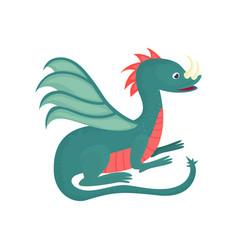 Cute cartoon baby dragon character mythical vector