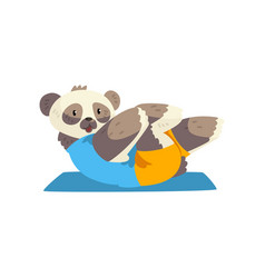 Cute panda bear doing sit up on a mat sportive vector