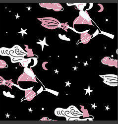 cute young witch with broom fly on starry sky vector image