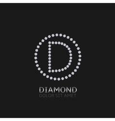 D letter with diamonds vector image