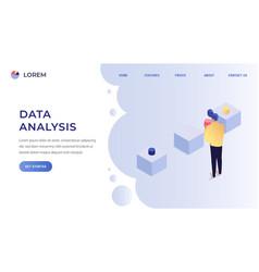data analysis landing page vector image